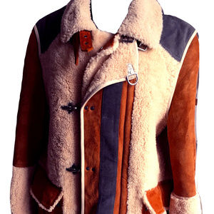 SCOTCH AND SODA SHEARLING & SUEDE COAT JACKET